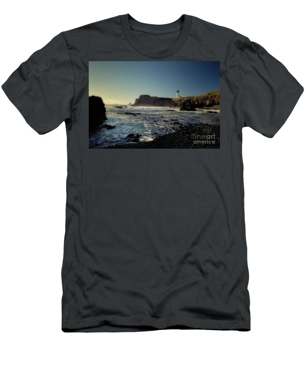 Lighthouse Men's T-Shirt (Athletic Fit) featuring the photograph Yaquina Lighthouse And Beach No 2 by Belinda Greb