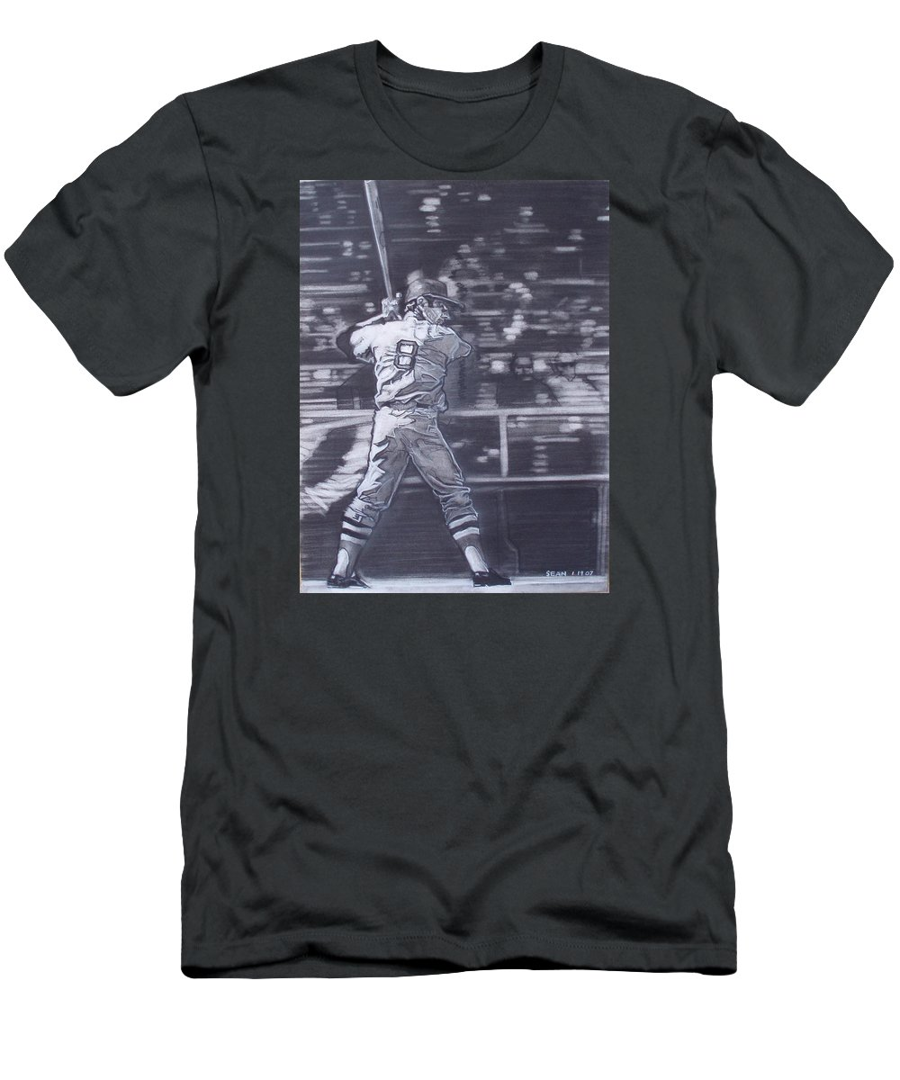Charcoal Men's T-Shirt (Athletic Fit) featuring the drawing Yaz - Carl Yastrzemski by Sean Connolly