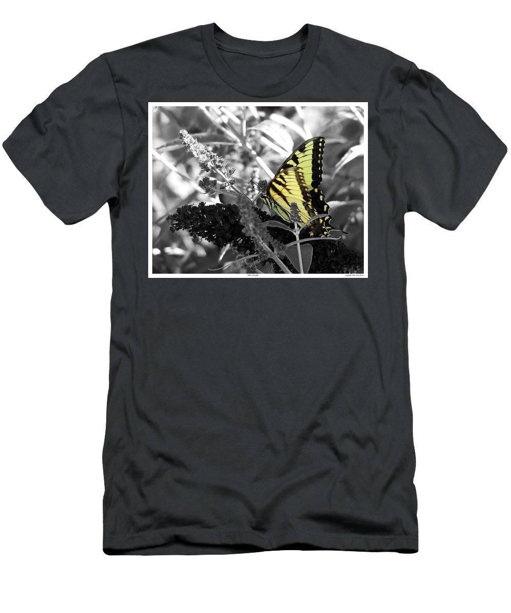 Yellow Men's T-Shirt (Athletic Fit) featuring the photograph Yellow Butterfly by Gene Tatroe