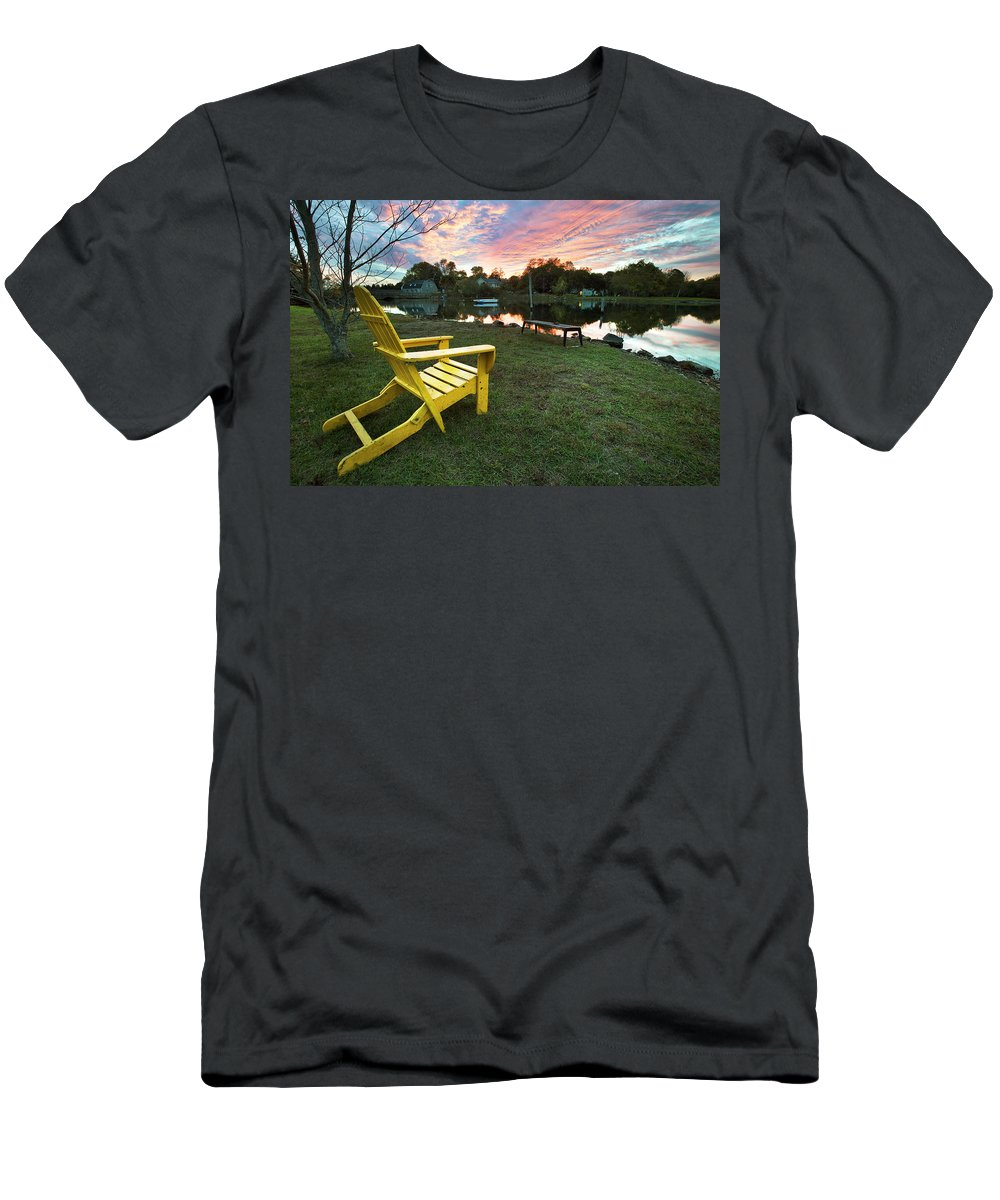 Yellow Chair Men's T-Shirt (Athletic Fit) featuring the photograph Yellow Chair by Eric Gendron