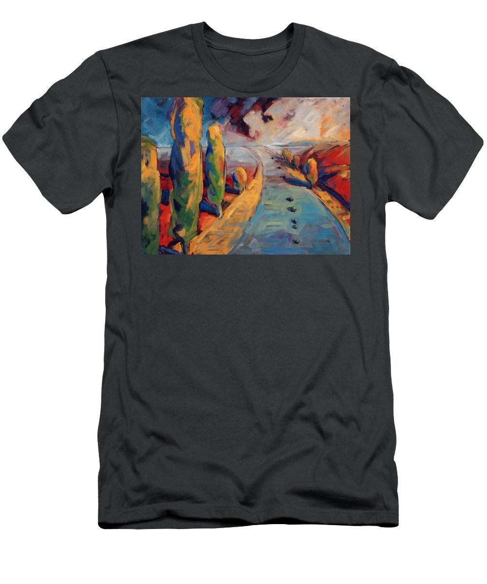California Men's T-Shirt (Athletic Fit) featuring the painting Yellow Cypress by Konnie Kim