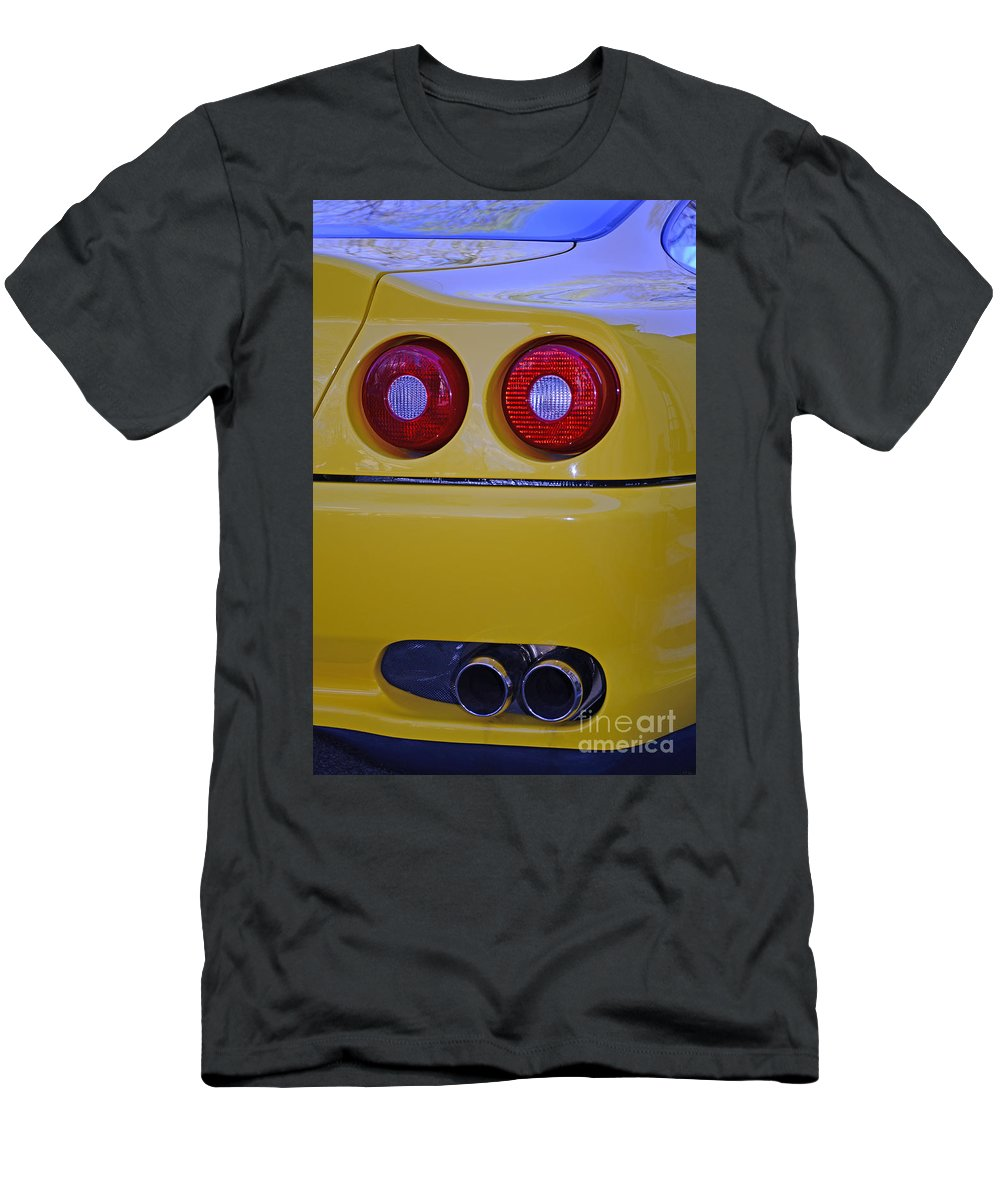 Paul Ward Men's T-Shirt (Athletic Fit) featuring the photograph Yellow Ferrari Tail Lights by Paul Ward