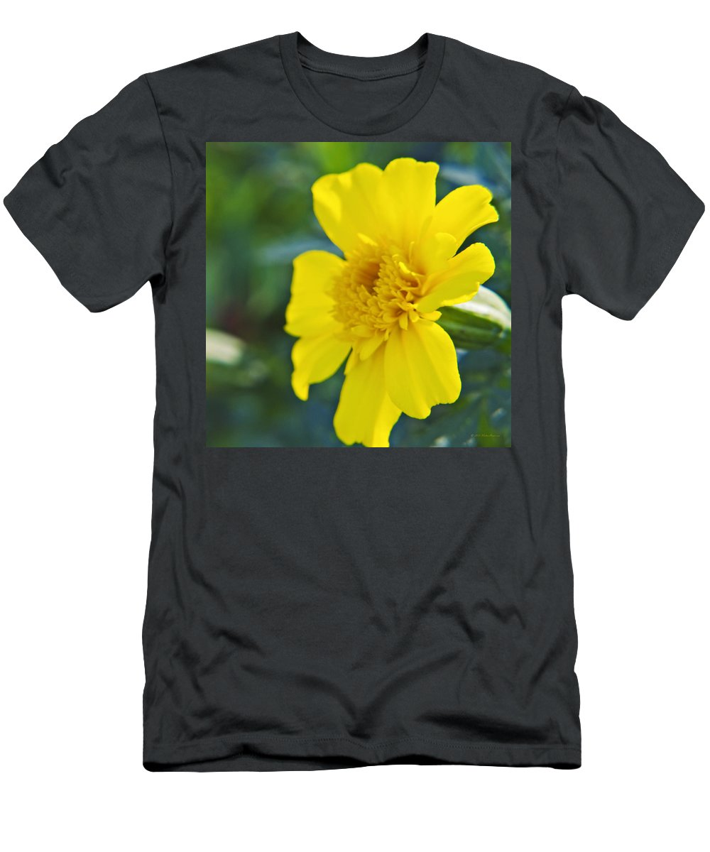 Marigold Men's T-Shirt (Athletic Fit) featuring the photograph Yellow Marigold by Walter Herrit