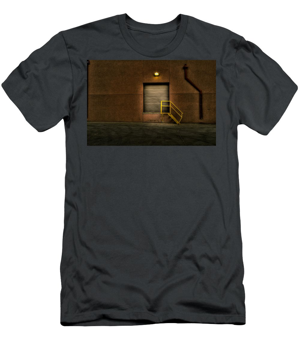8th And Rr Men's T-Shirt (Athletic Fit) featuring the photograph Yellow Stairs by Mike Oistad