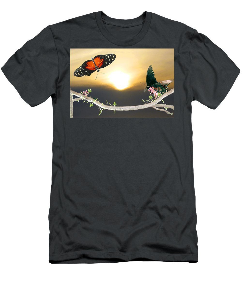 Sun Men's T-Shirt (Athletic Fit) featuring the digital art Yellow Sun by Tina Lynch