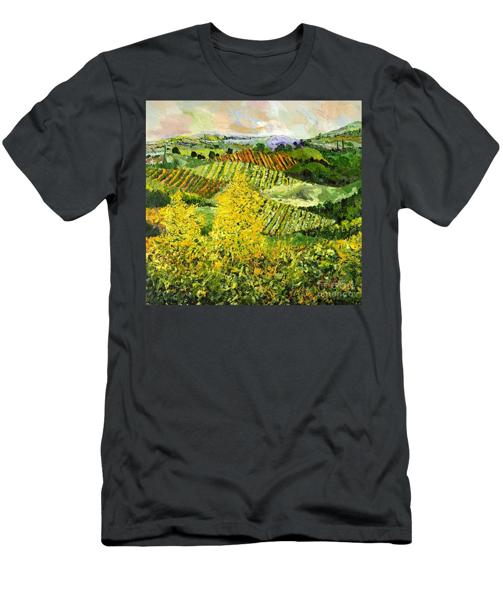 Landscape Men's T-Shirt (Athletic Fit) featuring the painting Yellow Trees by Allan P Friedlander