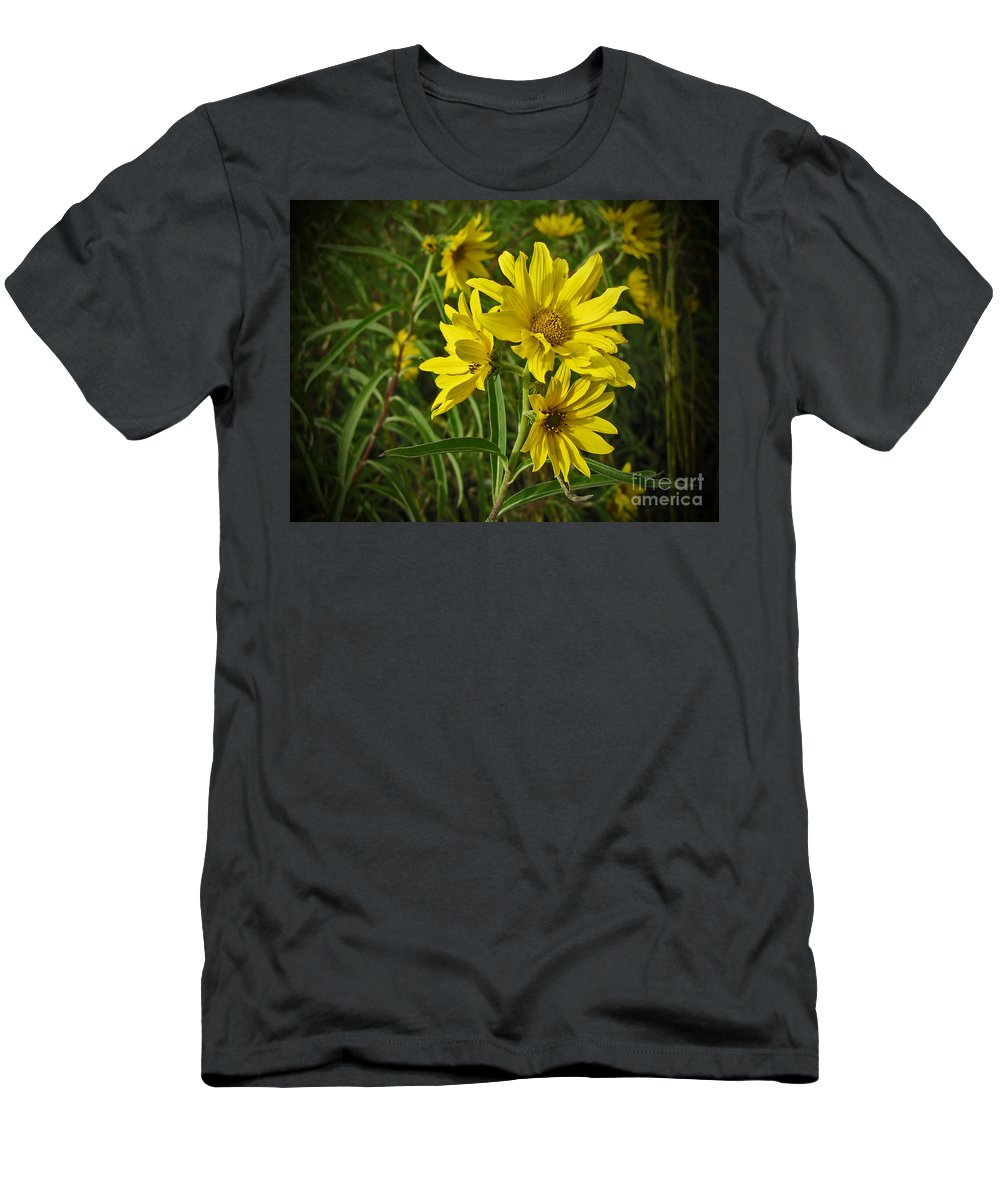 Flower Men's T-Shirt (Athletic Fit) featuring the photograph Yellow Wild Flowers by Minding My Visions by Adri and Ray