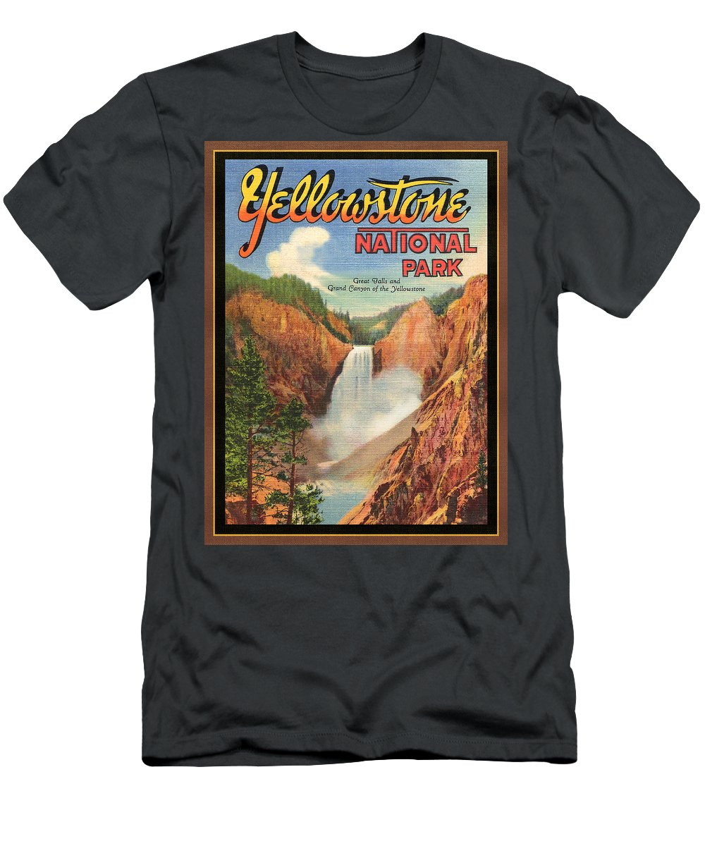 Postcard Men's T-Shirt (Athletic Fit) featuring the digital art Yellowstone Park by Larry Hunter