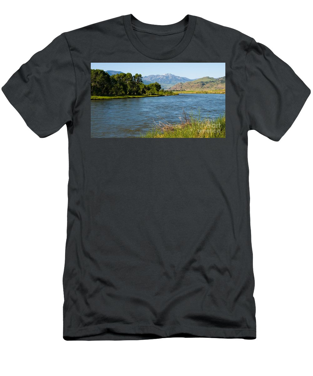 Montana Men's T-Shirt (Athletic Fit) featuring the photograph Along Yellowstone 2 by Tara Lynn