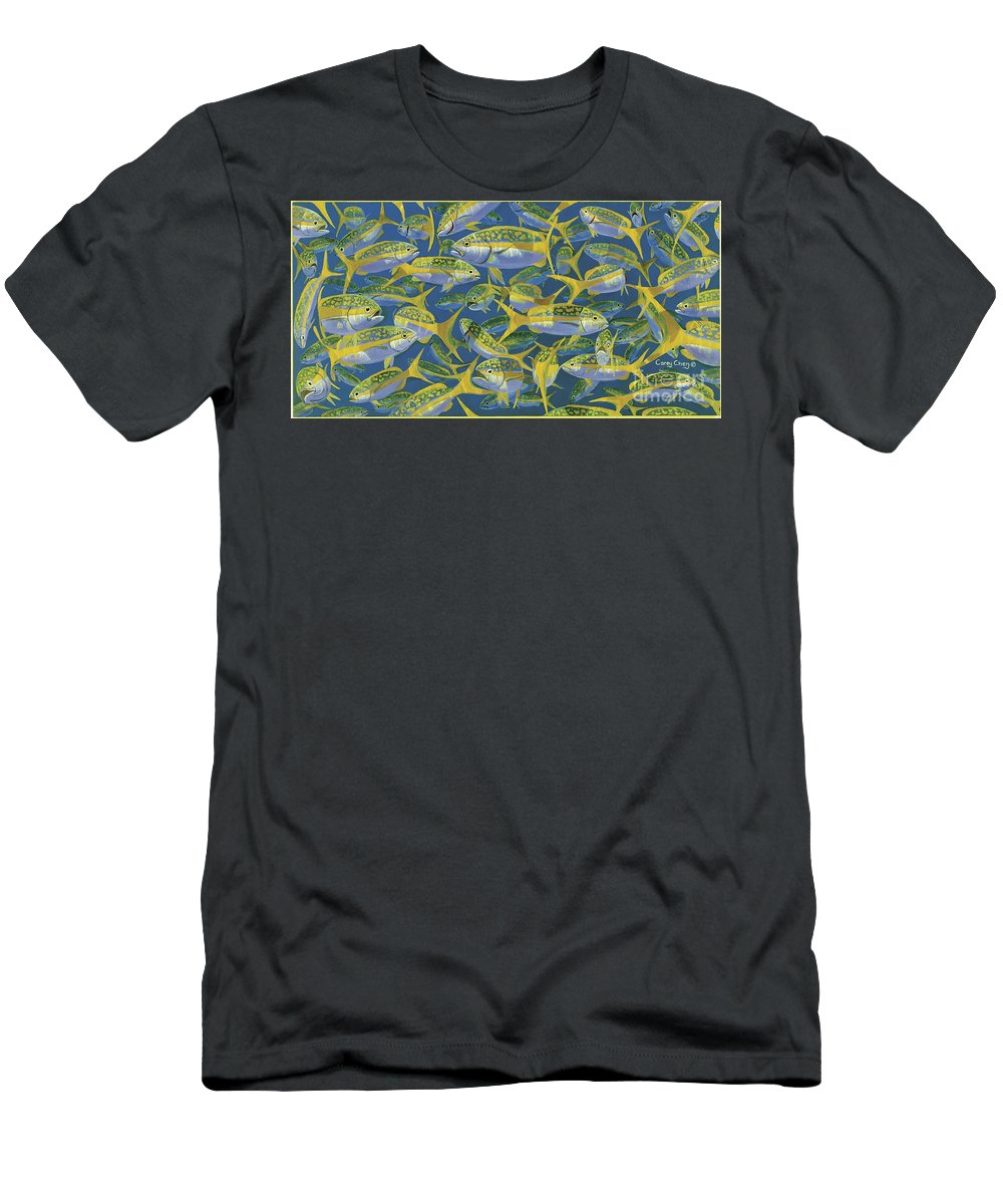 Yellowtail Snapper Men's T-Shirt (Athletic Fit) featuring the painting Yellowtail Frenzy In0023 by Carey Chen