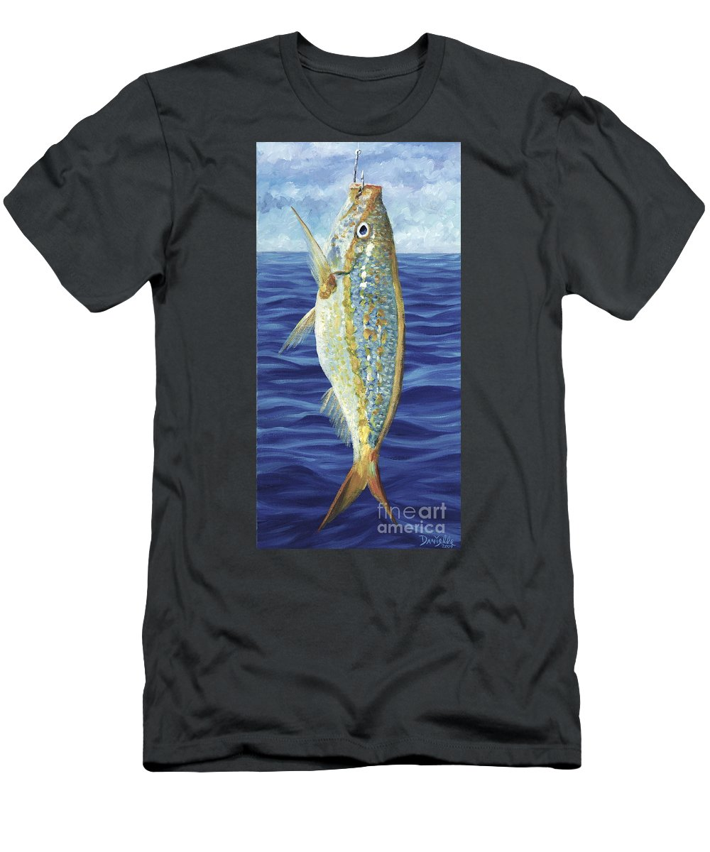 Snapper Men's T-Shirt (Athletic Fit) featuring the painting Yellowtail On The Menu by Danielle Perry