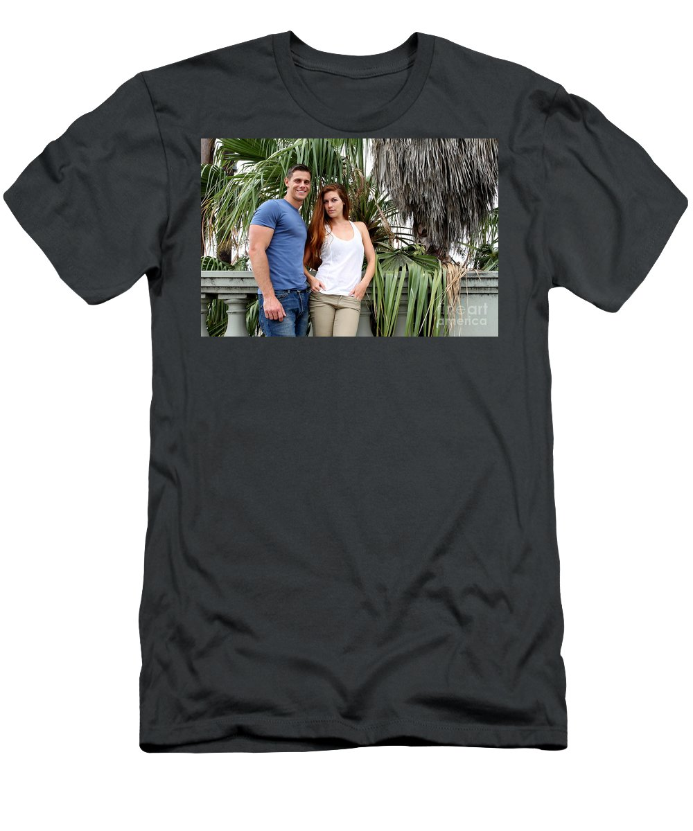 Woman Men's T-Shirt (Athletic Fit) featuring the photograph Young Couple Palm Tree by Henrik Lehnerer