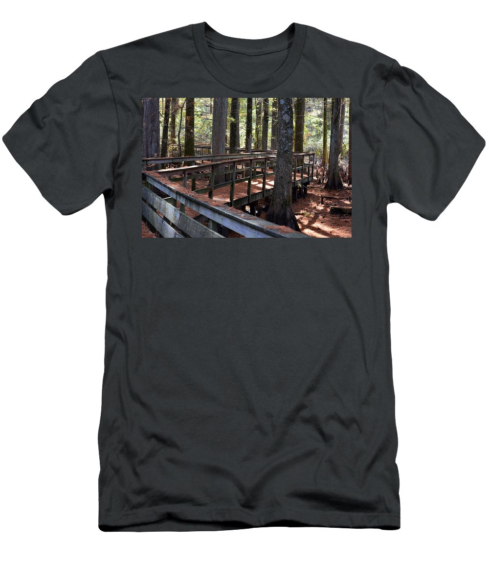 Bridges Men's T-Shirt (Athletic Fit) featuring the photograph Zig Zag Thru The Cypress Trees by Barb Dalton