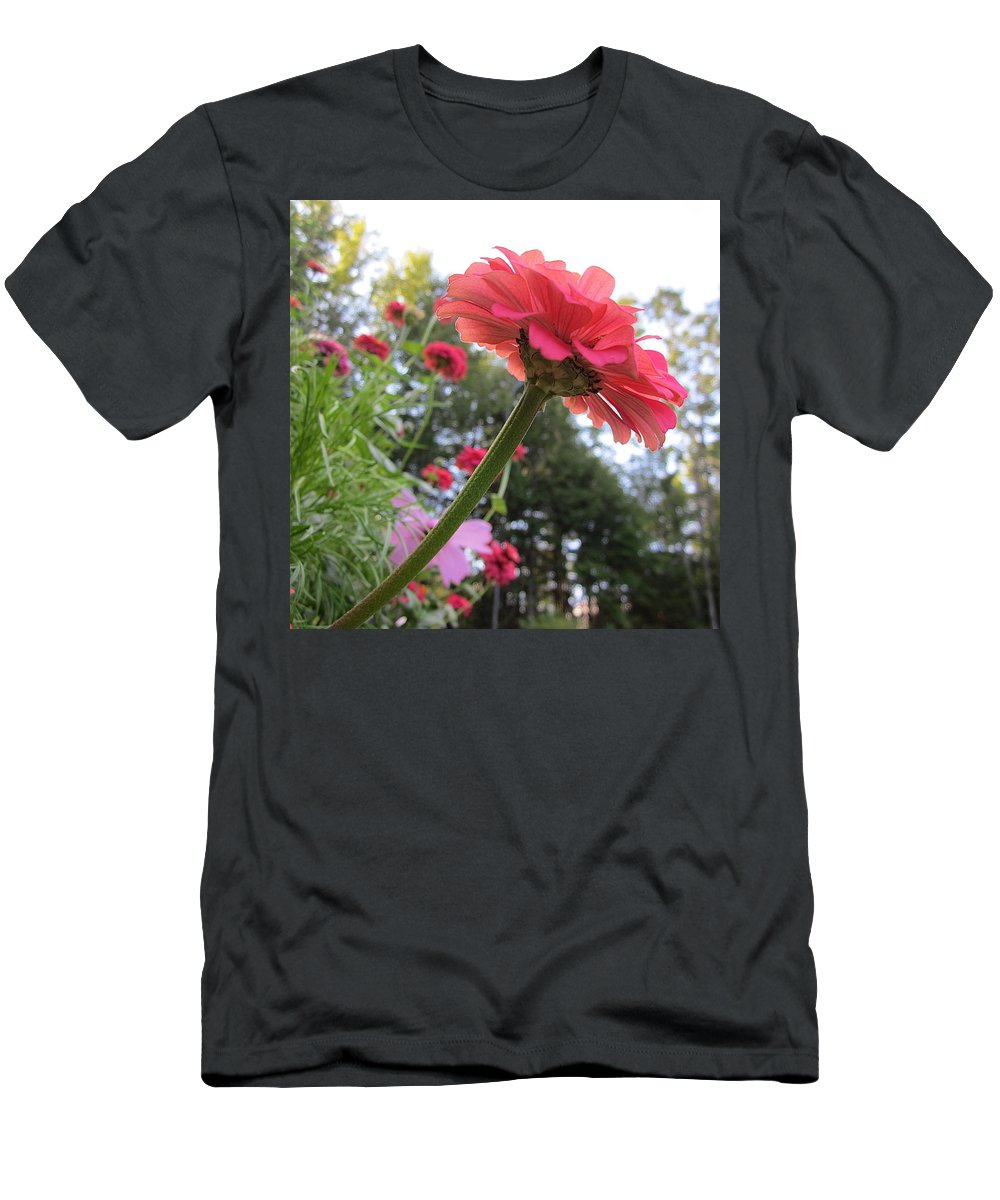 Zinnia Men's T-Shirt (Athletic Fit) featuring the photograph Zinnia Side View by MTBobbins Photography