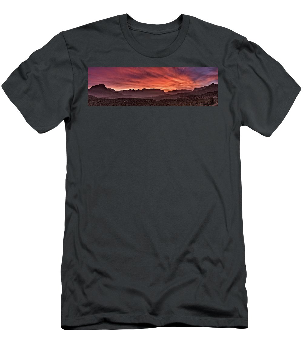 Clouds Men's T-Shirt (Athletic Fit) featuring the photograph Zion National Park Panoramic by Leland D Howard