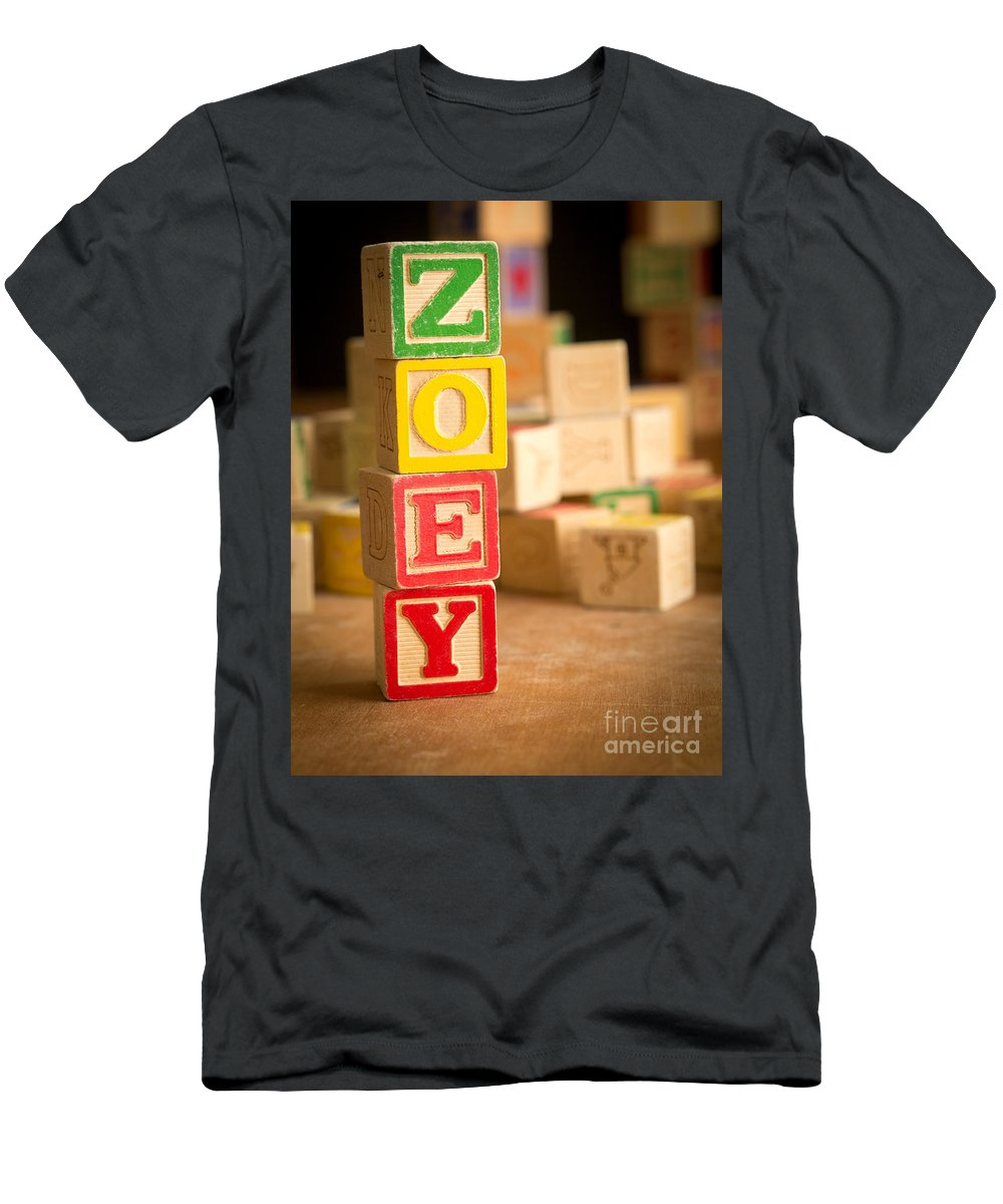 Abcs Men's T-Shirt (Athletic Fit) featuring the photograph Zoey - Alphabet Blocks by Edward Fielding