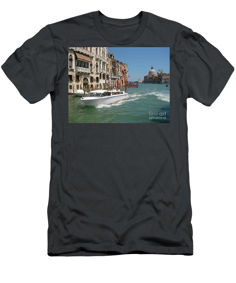 Zooming On The Canals Of Venice Men's T-Shirt (Athletic Fit) featuring the photograph Zooming On The Canals Of Venice by John Malone
