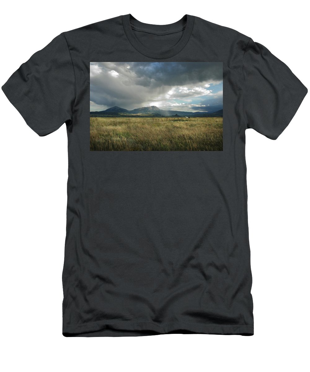 Colorado Men's T-Shirt (Athletic Fit) featuring the photograph Evening Storm by Ron Weathers