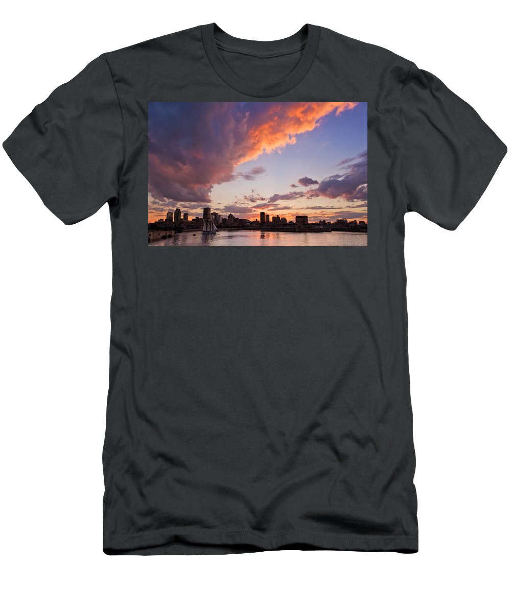 Montreal Men's T-Shirt (Athletic Fit) featuring the photograph Port Of Montreal by Mircea Costina Photography