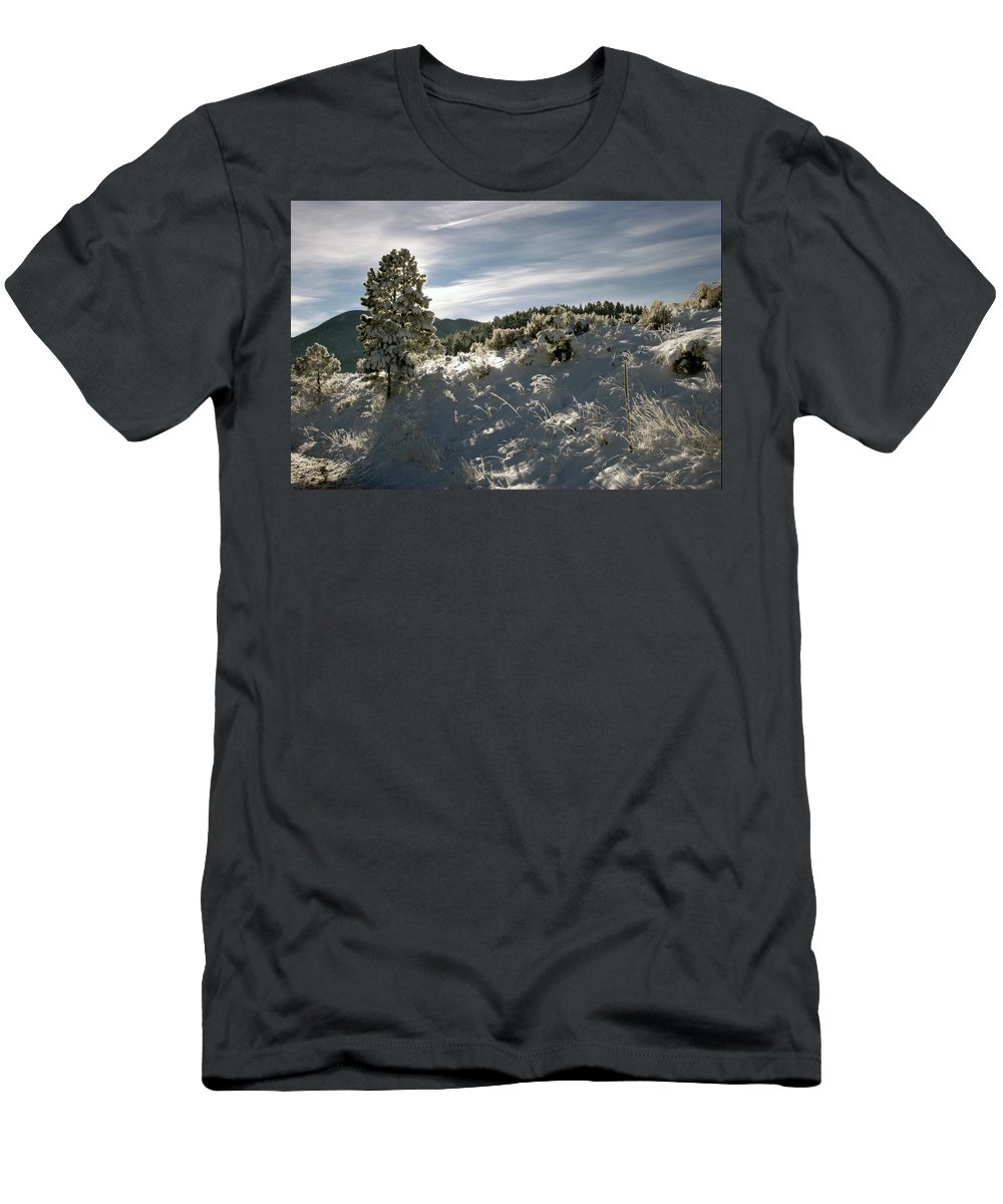 Eagle Nest Men's T-Shirt (Athletic Fit) featuring the photograph Sunrise On Frosted Hill by Ron Weathers