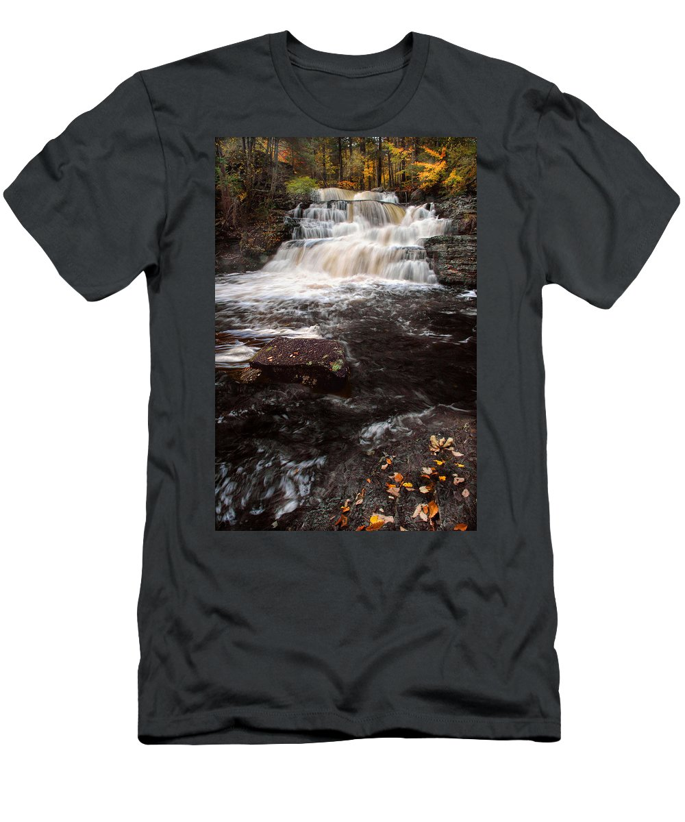 Waterfall Men's T-Shirt (Athletic Fit) featuring the photograph Autumn Waterfall by Dave Mills