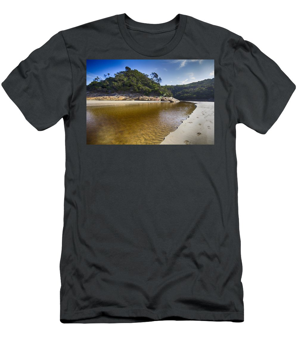 Tidal River Men's T-Shirt (Athletic Fit) featuring the photograph Beach Erosion by Douglas Barnard
