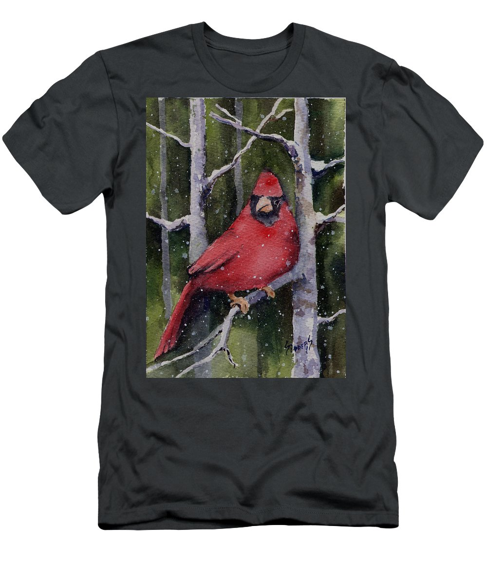 Cardinal Men's T-Shirt (Athletic Fit) featuring the painting Cardinal by Sam Sidders