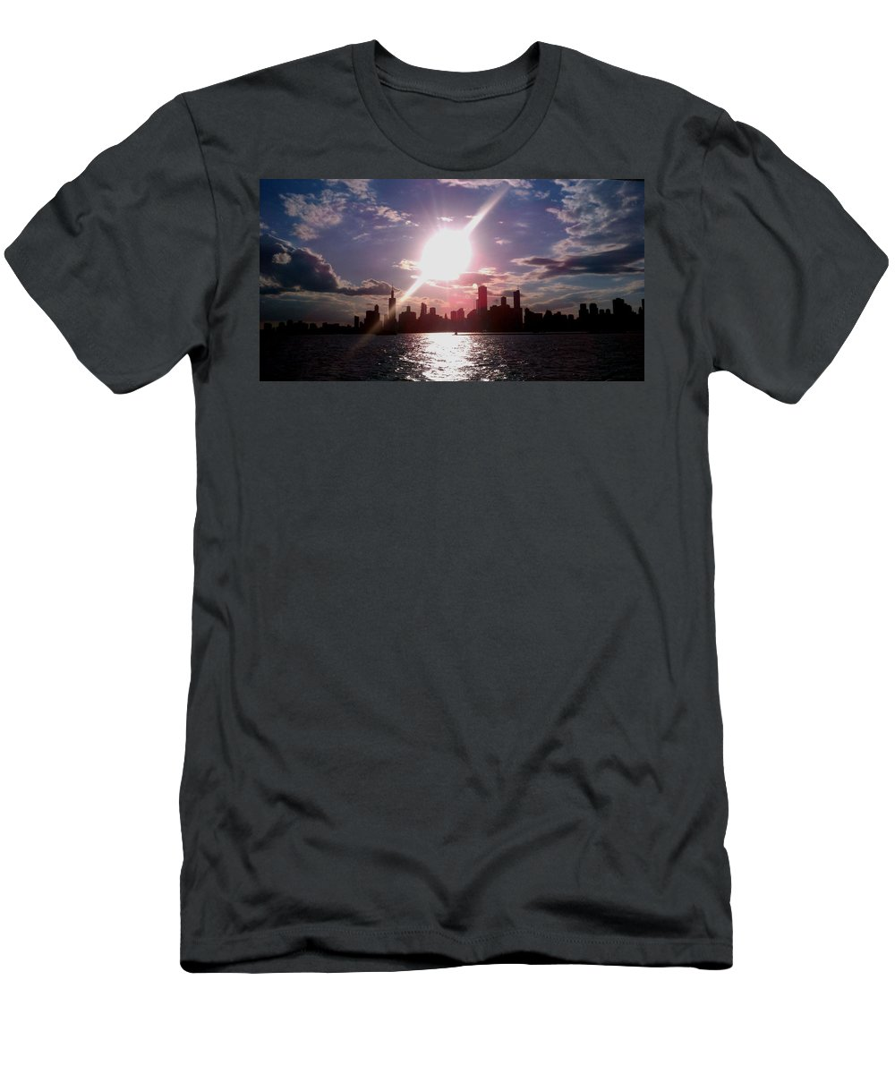 Chicago Men's T-Shirt (Athletic Fit) featuring the photograph Chicago Sunset by Glory Fraulein Wolfe
