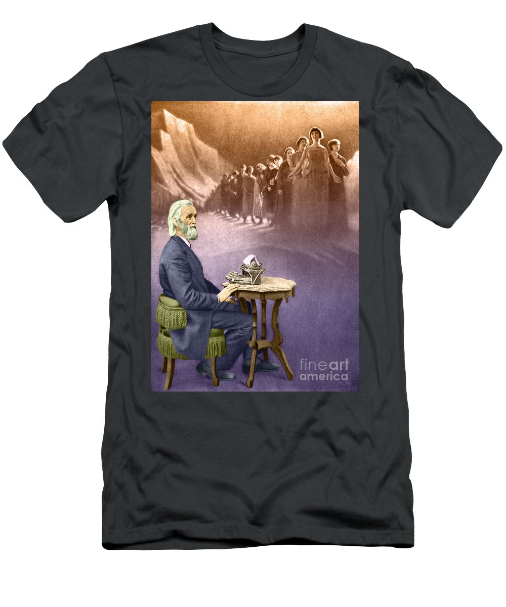 History Men's T-Shirt (Athletic Fit) featuring the photograph Christopher Sholes, American Inventor by Photo Researchers