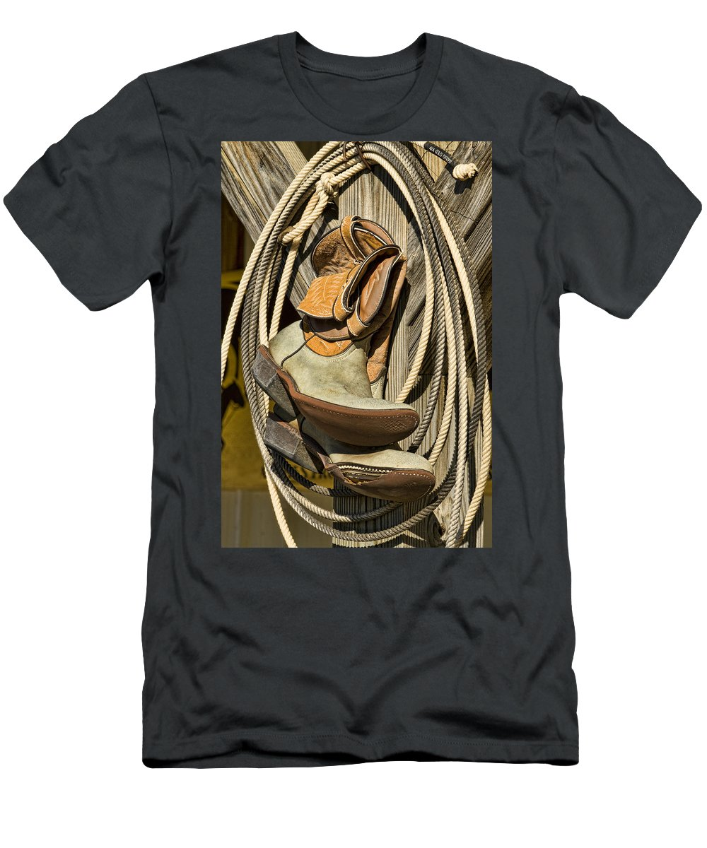Cowboy Boots Men's T-Shirt (Athletic Fit) featuring the photograph Cowboy Essentials by Kathy Clark