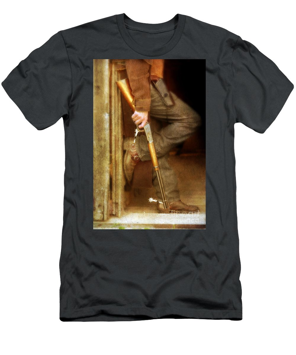 Cowboy Boots Men's T-Shirt (Athletic Fit) featuring the photograph Cowboy With Guns by Jill Battaglia