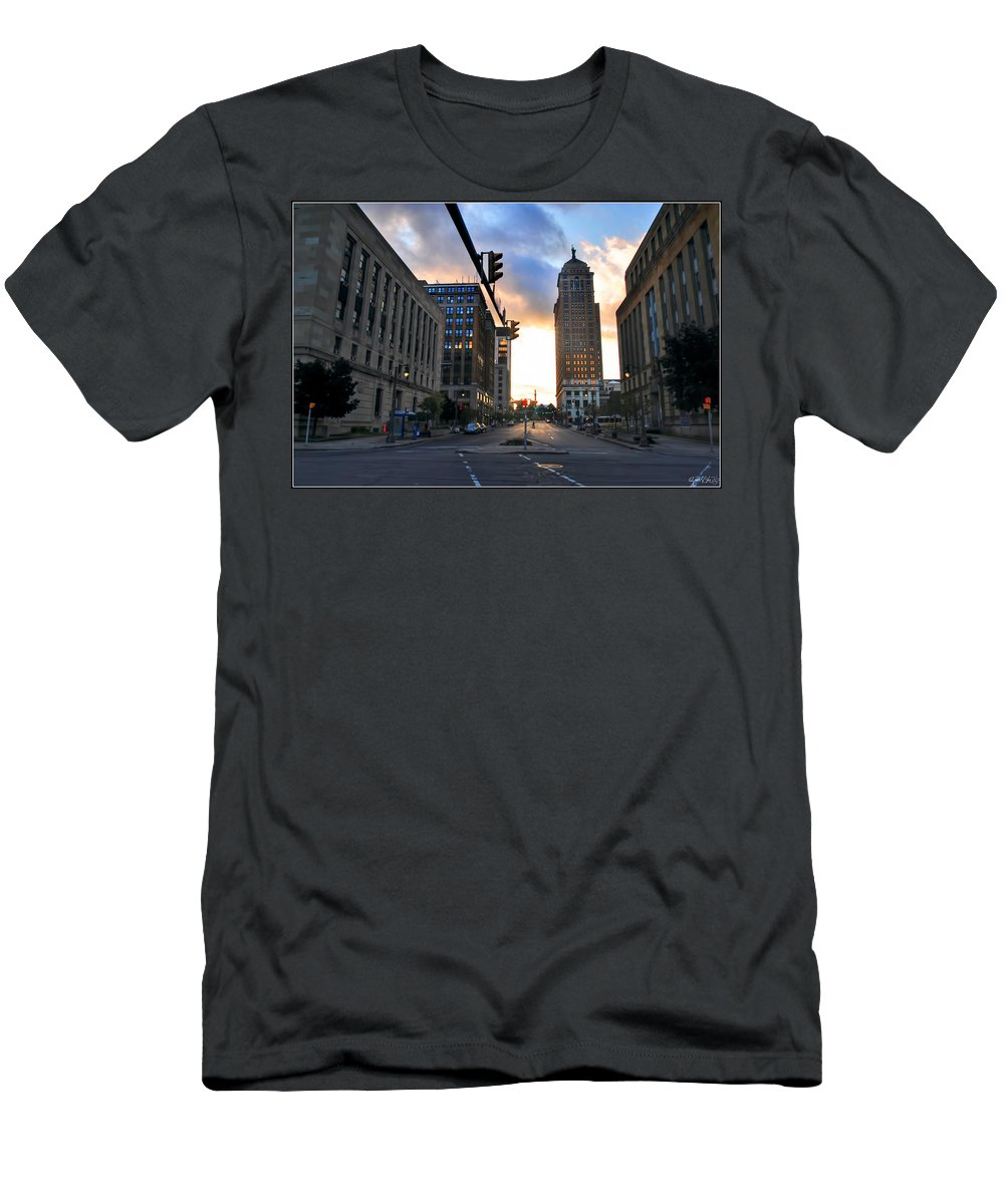 Men's T-Shirt (Athletic Fit) featuring the photograph Early Morning Court Street by Michael Frank Jr