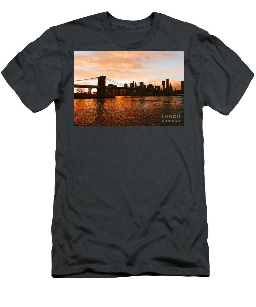 Brooklyn Bridge T-Shirt featuring the photograph Golden Memories by Kendall Eutemey