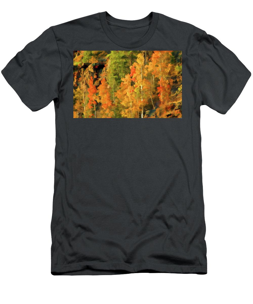 Autumn Cliffside Men's T-Shirt (Athletic Fit) featuring the digital art Hang Gliding The Autumn Colors by Gary Baird