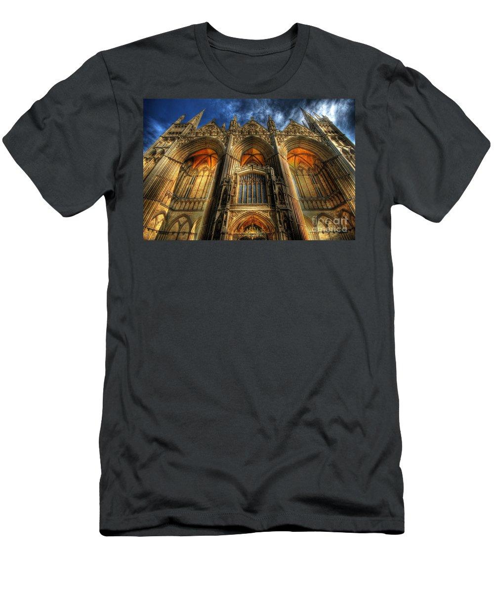 Yhun Suarez Men's T-Shirt (Athletic Fit) featuring the photograph Peterborough Cathedral by Yhun Suarez