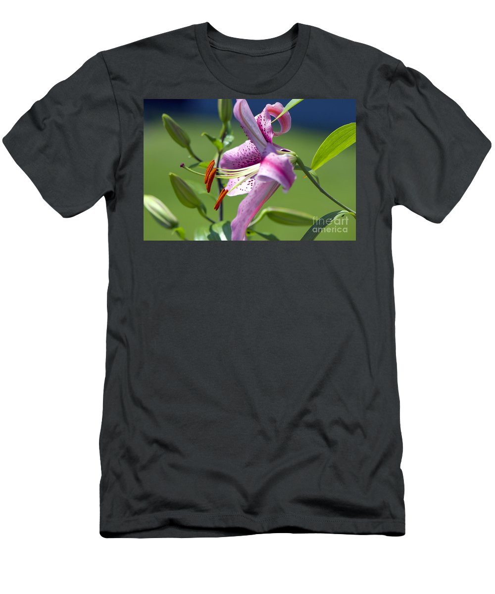 Asiatic Lily Men's T-Shirt (Athletic Fit) featuring the photograph Pink Lily by Sharon Talson