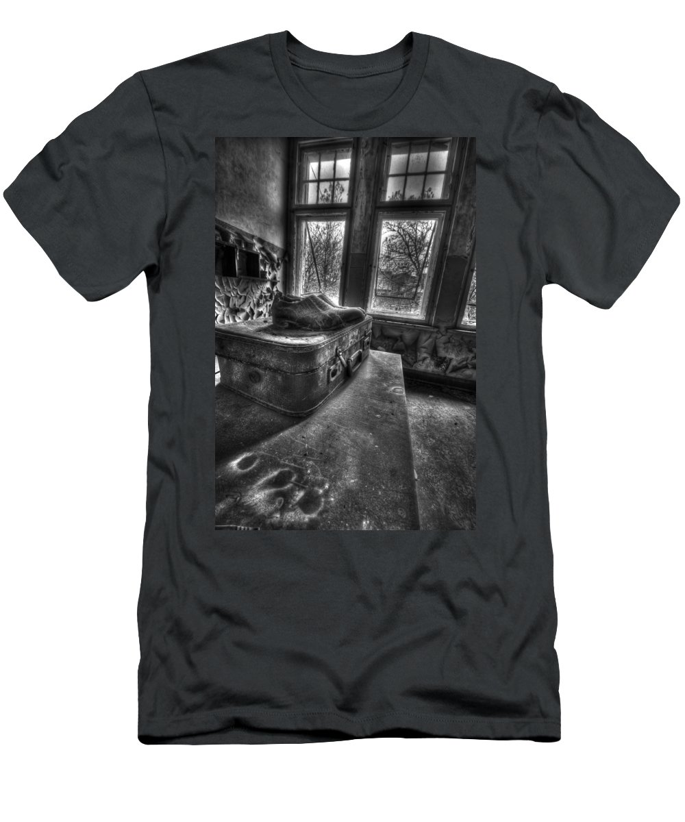 Urbex Room Horror Chairs Window Ancient Hospital Building Casern Men's T-Shirt (Athletic Fit) featuring the photograph Ready To Leave by Nathan Wright