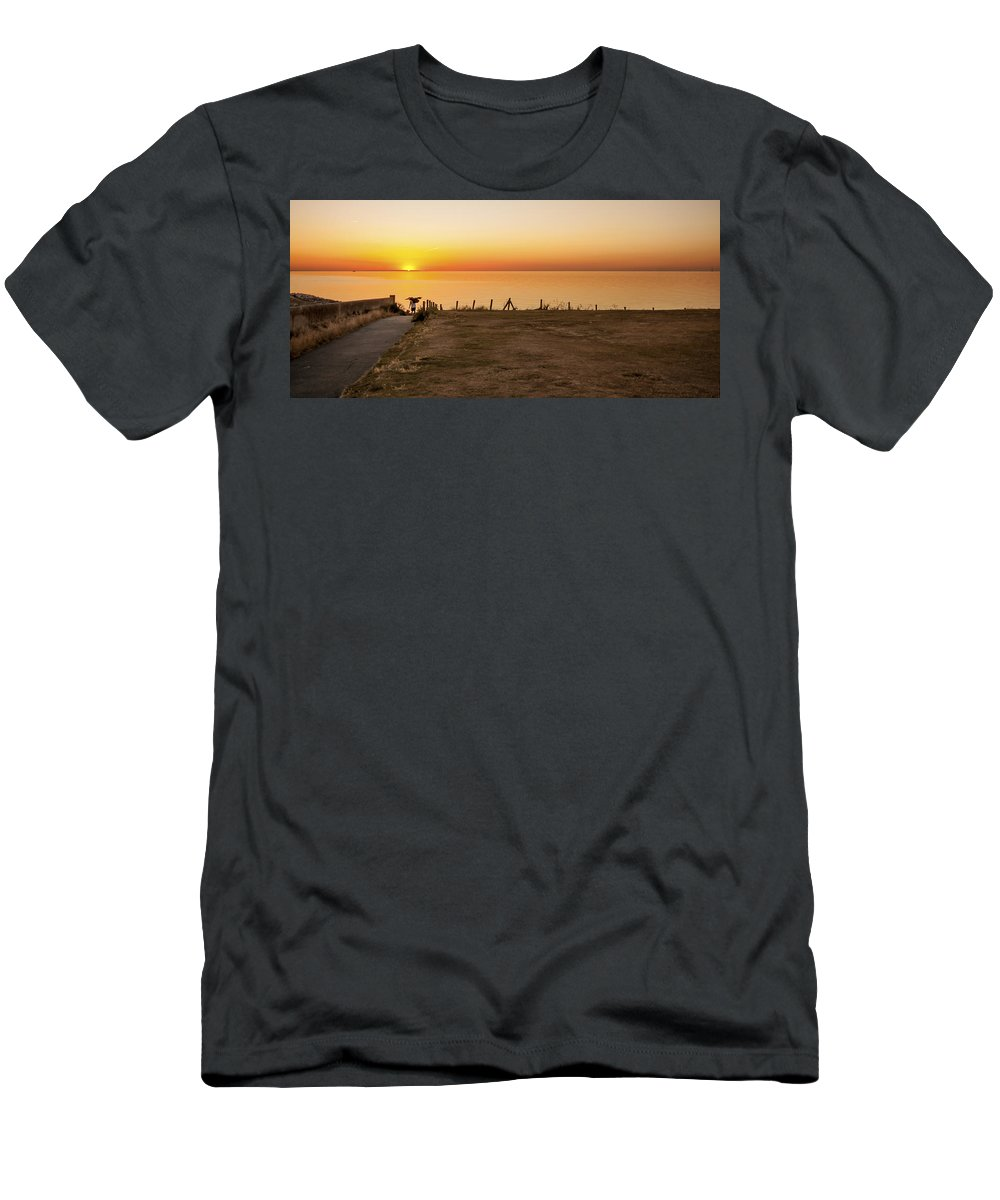 Fisherman Men's T-Shirt (Athletic Fit) featuring the photograph Reculver Sunset by Dawn OConnor