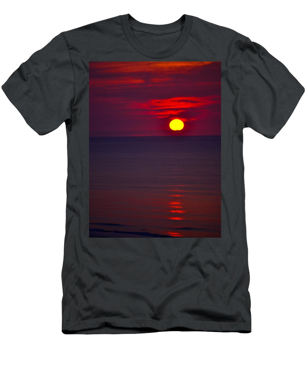 Landscape Men's T-Shirt (Athletic Fit) featuring the photograph Red Sunset by Debbie Karnes