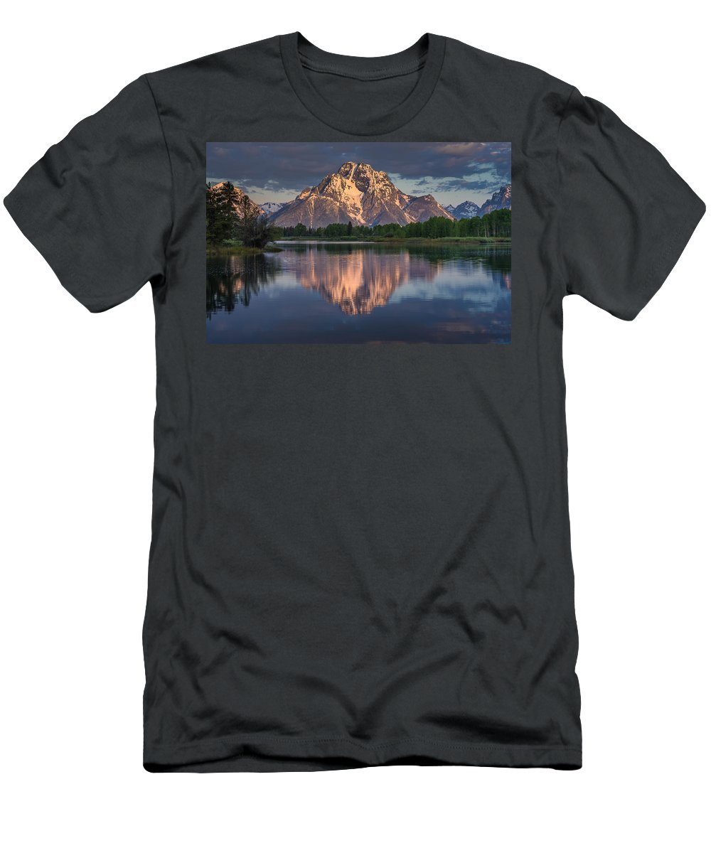 Grand Tetons National Park Men's T-Shirt (Athletic Fit) featuring the photograph Reflections On Mount Moran by Greg Nyquist