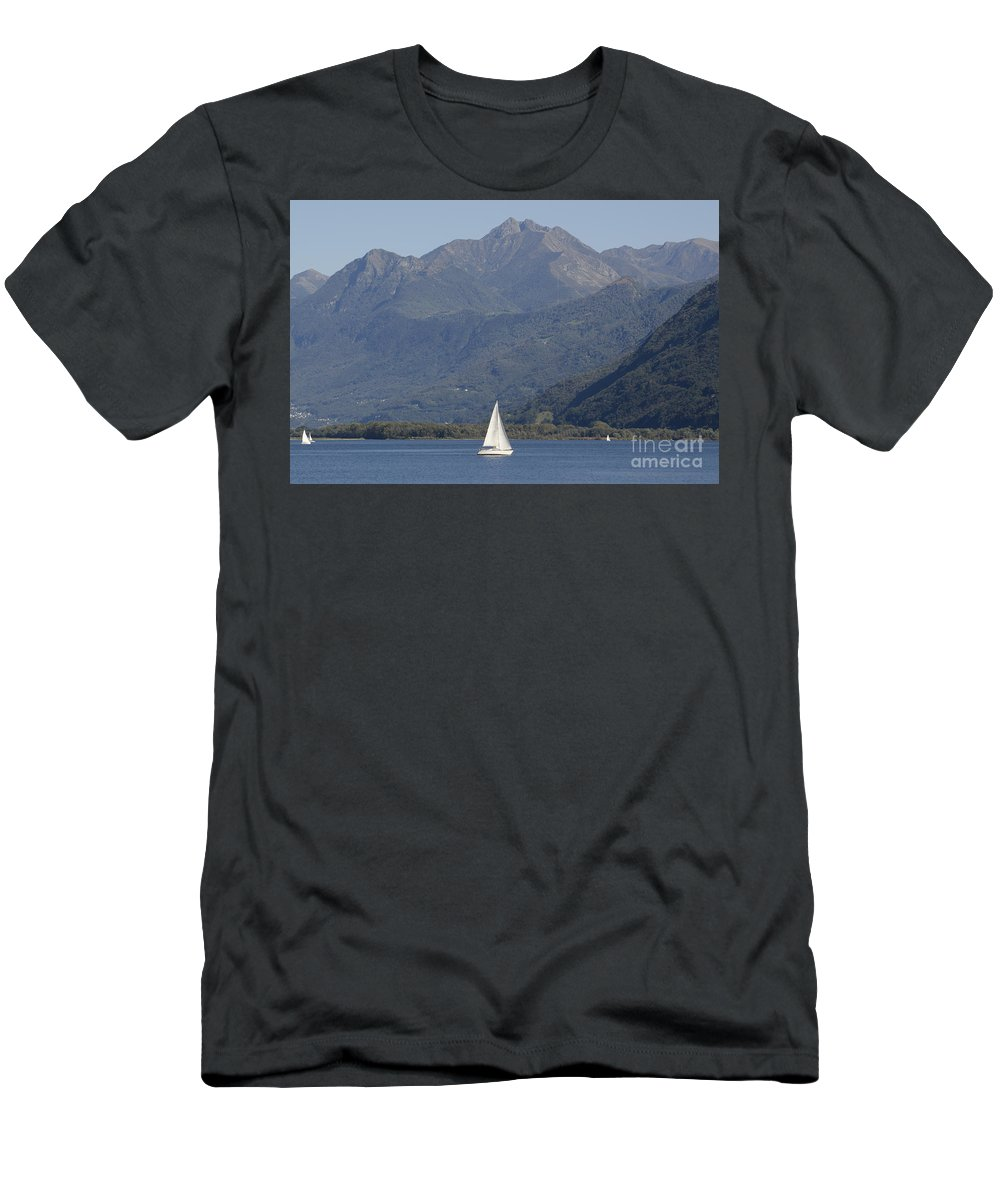 Sailing Boat Men's T-Shirt (Athletic Fit) featuring the photograph Sailing Boat And Mountain by Mats Silvan
