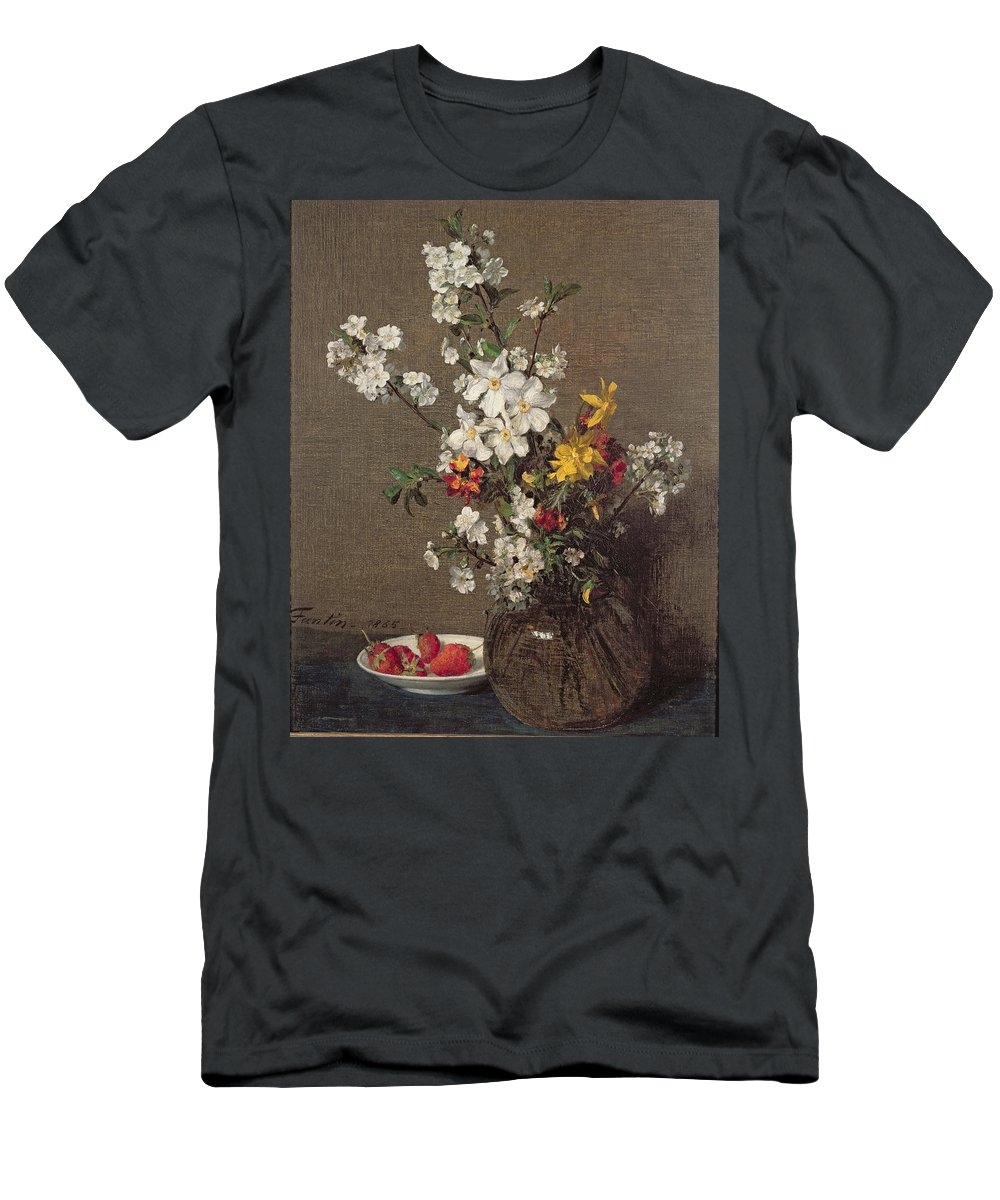 Spring Men's T-Shirt (Athletic Fit) featuring the painting Spring Bouquet by Ignace Henri Jean Fantin-Latour
