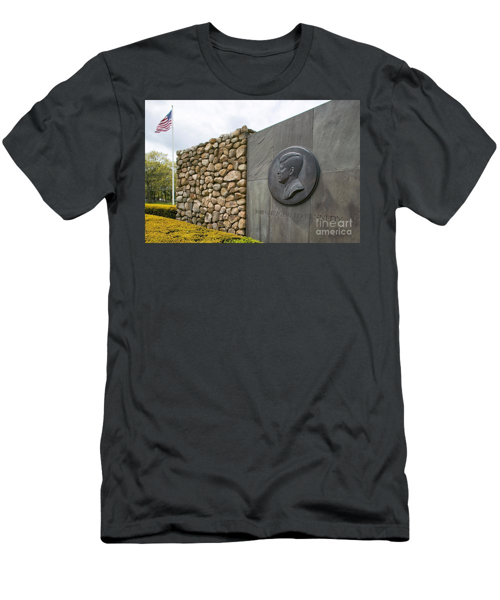 Veterans Memorial Park Men's T-Shirt (Athletic Fit) featuring the photograph The John F. Kennedy Memorial At Veterans Memorial Park In Hyanni by Matt Suess