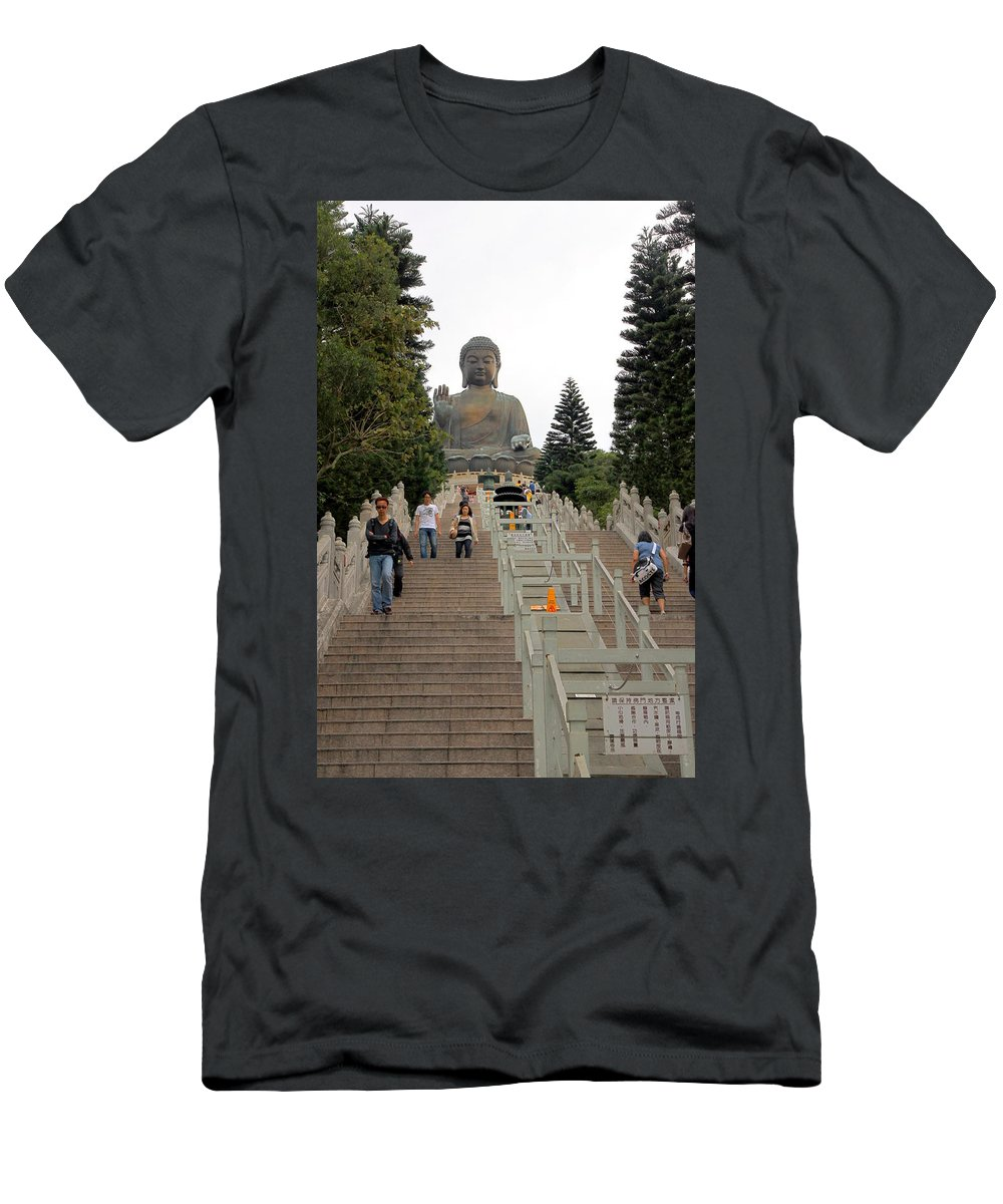 Tian Tan Men's T-Shirt (Athletic Fit) featuring the photograph Tian Tan Buddha by Valentino Visentini