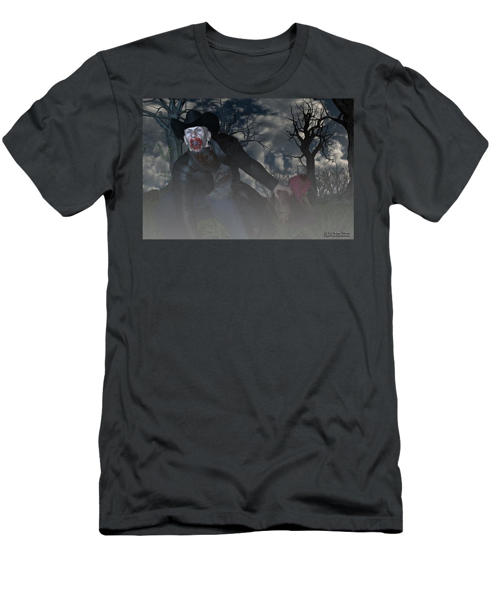 Vampire Men's T-Shirt (Athletic Fit) featuring the digital art Vampire Cowboy by Michael Stowers