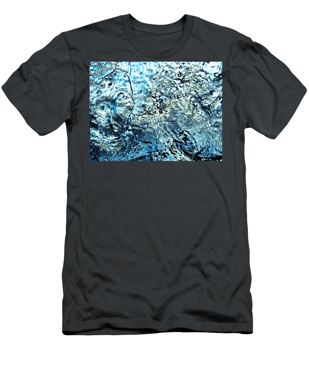 Abstract Men's T-Shirt (Athletic Fit) featuring the photograph Water In A Pool Which Lock Like A Frozen Water Stream Of A River by U Schade