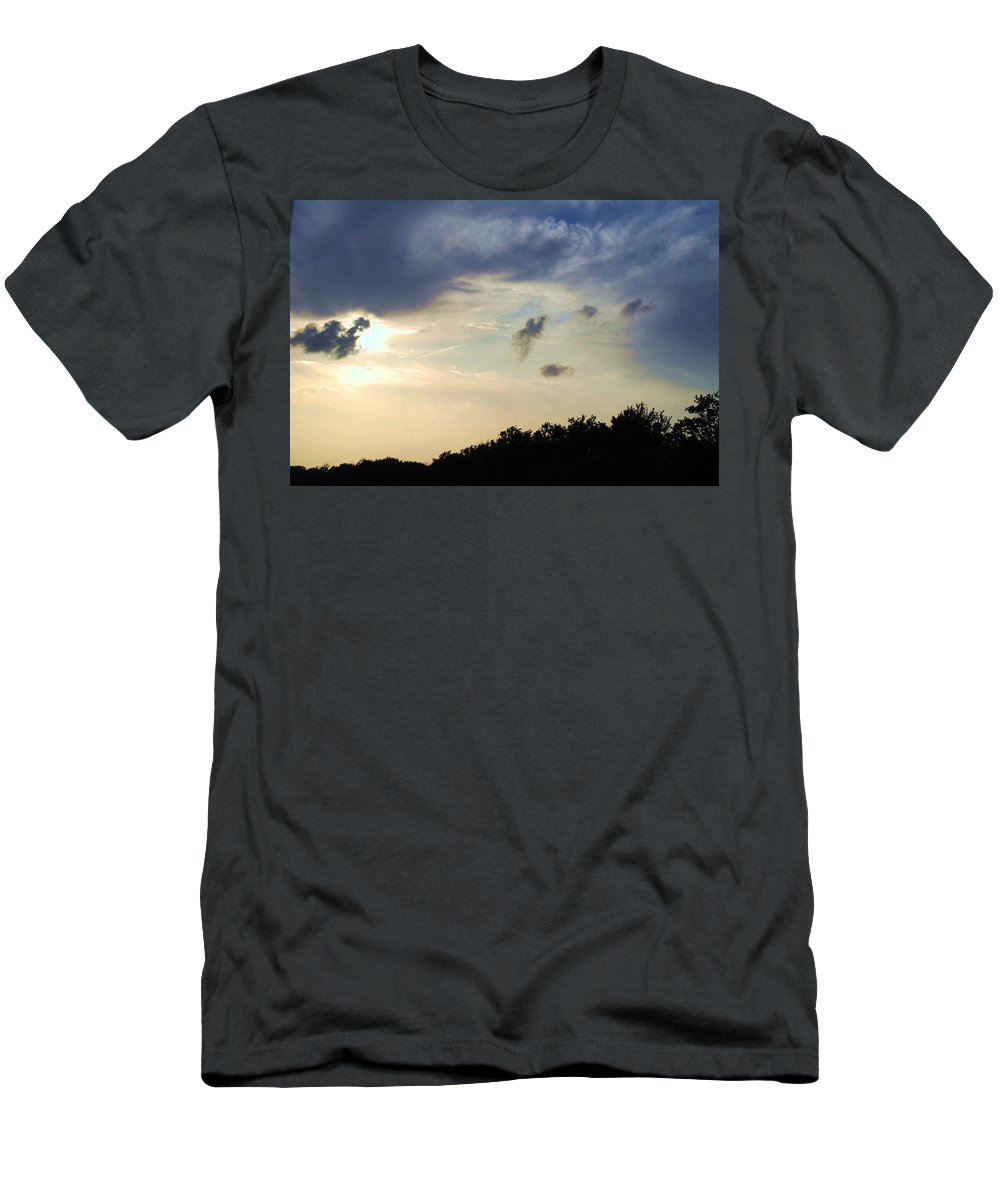 Sunset Men's T-Shirt (Athletic Fit) featuring the photograph Weather Signs At Sunset by Judy Hall-Folde