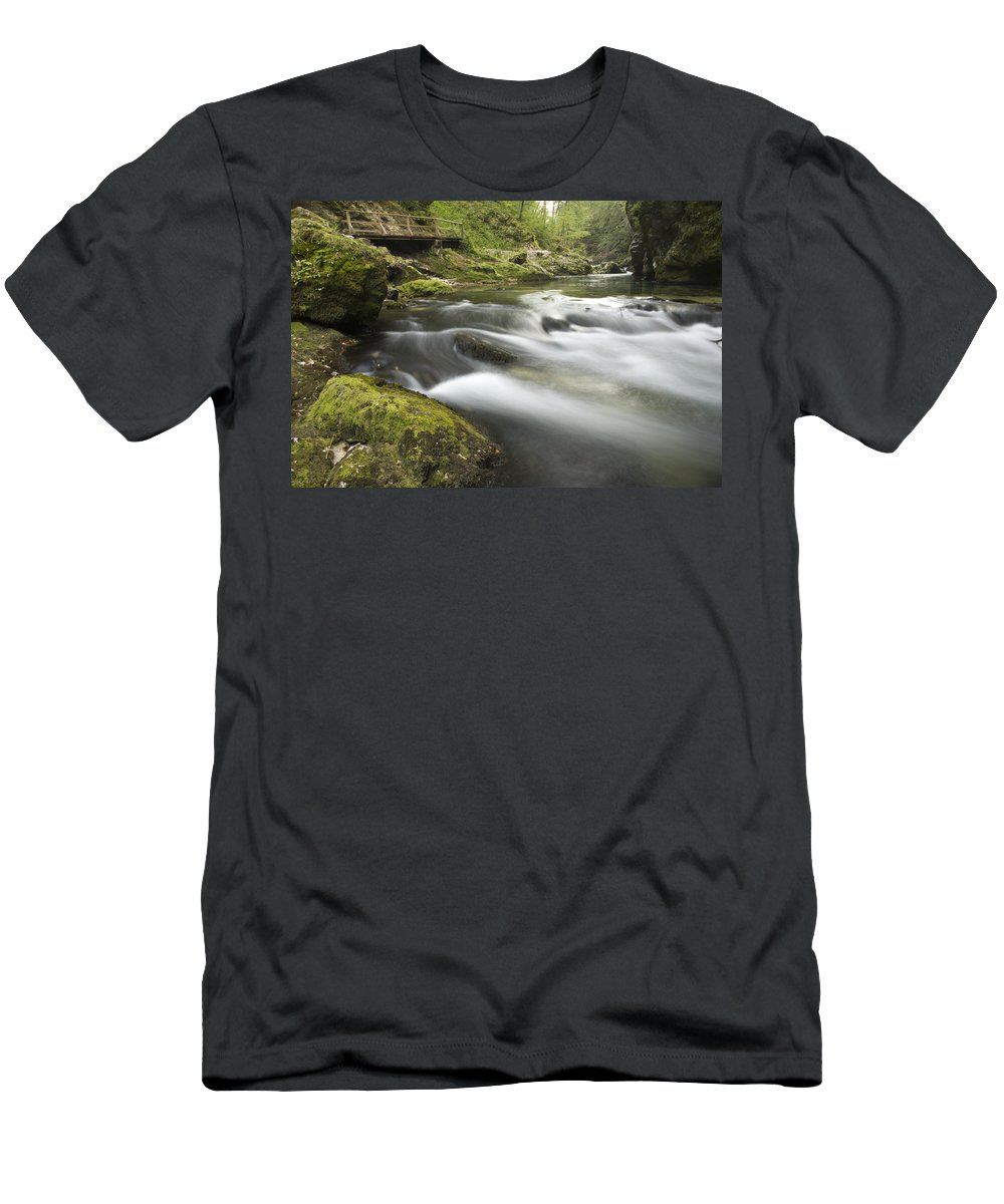 Soteska Men's T-Shirt (Athletic Fit) featuring the photograph The Soteska Vintgar Gorge by Ian Middleton