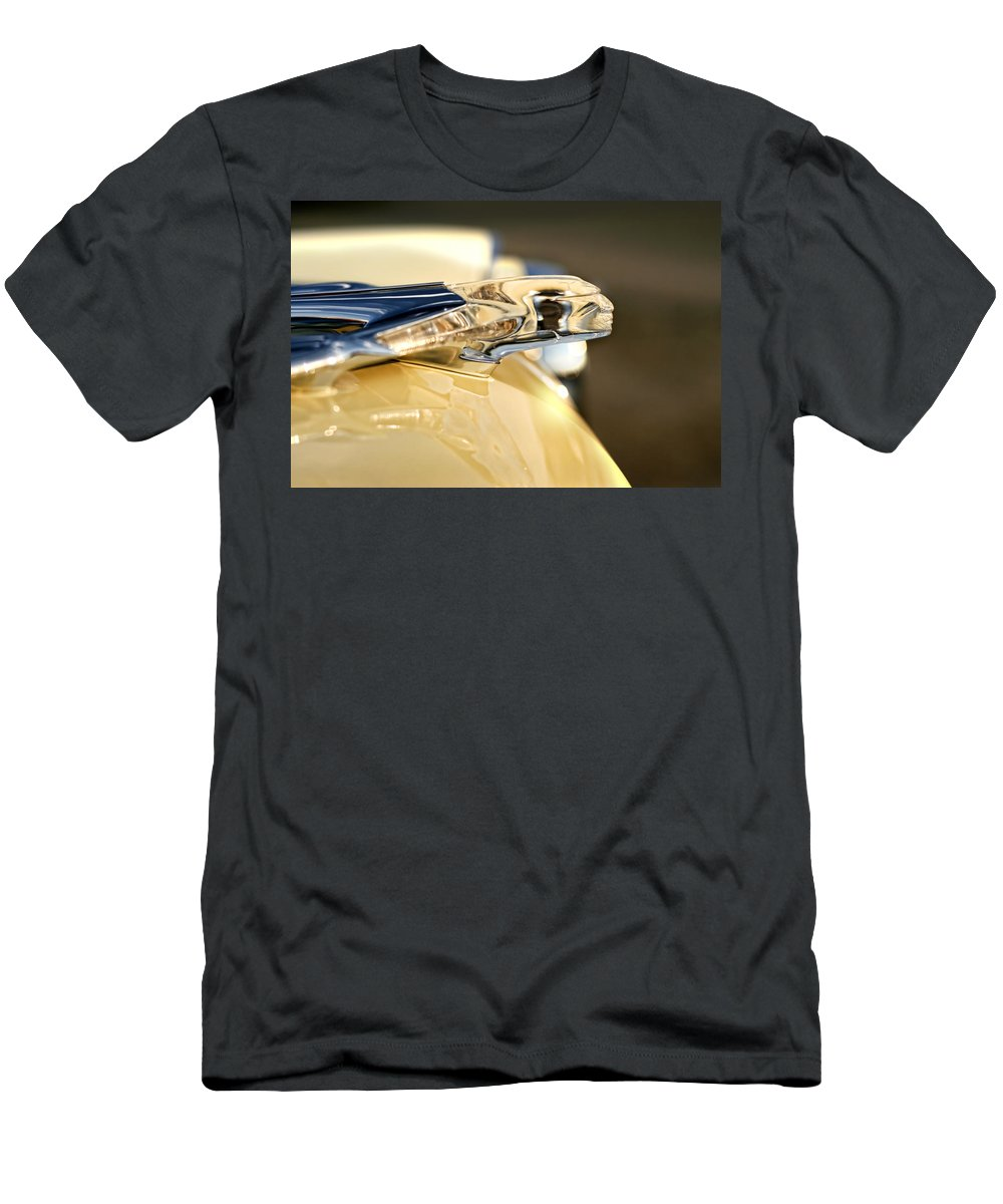 1955 Men's T-Shirt (Athletic Fit) featuring the photograph 1955 Pontiac Star Chief Hood Ornament by Gordon Dean II