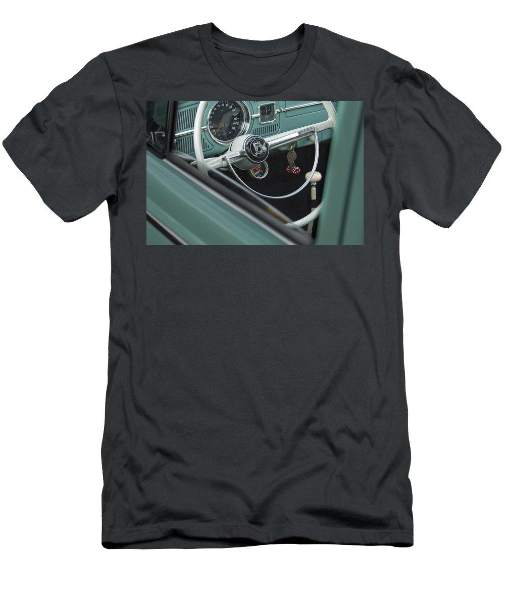 1964 Volkswagen Men's T-Shirt (Athletic Fit) featuring the photograph 1964 Volkswagen Vw Steering Wheel 2 by Jill Reger